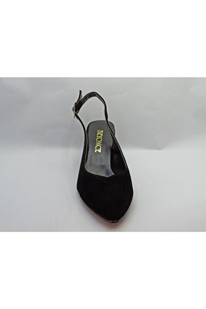 Beyonce Kadın Siyah Süet Kısa Topuk Ayakkabı
