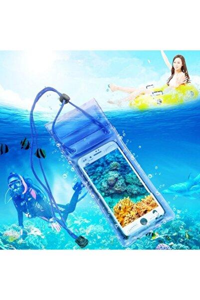 NETAVANTAJ Su Altı Çekimi Su Geçirmez Şeffaf Kilitli Mavi Cep Telefonu Kılıfı