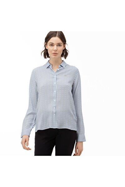 Lacoste Kadın Çizgili Mavi Gömlek CF0016