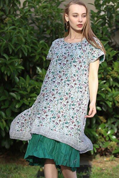 Kadın Yeşil Bohem Çıtır Çiçek Pano Desenli Düşük Kol İki Katlı Tülbent Elbise M10160000EL96754