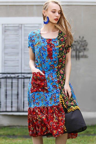 Kadın Multi Bohem Siyah Astarlı Kopanaki Ve Cep Detaylı Mix Renkli Tülbent Elbise M10160000EL96732