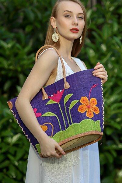Chiccy Kadın Multi Retro Dev Çiçek Desenli Üçgen Hasır Torba Astarlı Çanta C30090400CF97272
