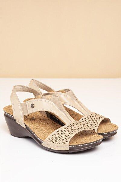 Pierre Cardin 02-Bej Kadın  Sandalet PC-1392-3728-9427695