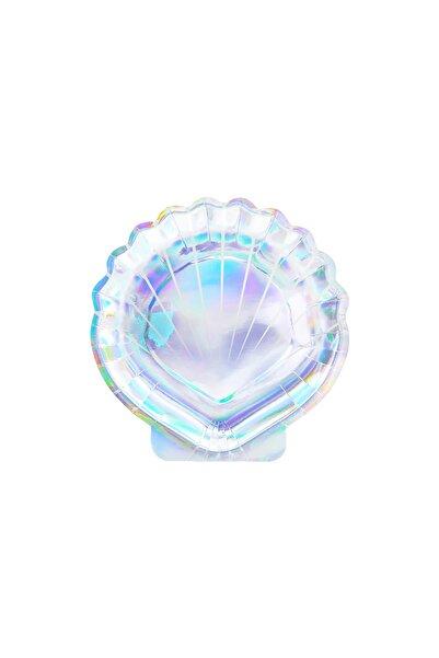 Kullan At Market Deniz Kabuğu Şekilli Hologramlı Kağıt Tabak 18,5 cm 6lı