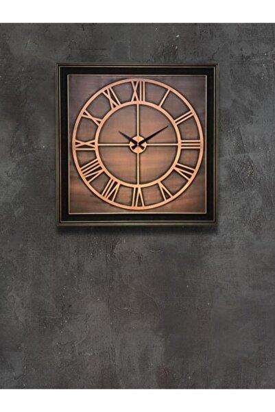 Bakır Kabartma Büyük Metal Duvar Saati 70x70 Cm