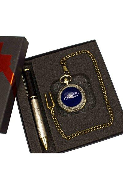 hediyerengi Atatürk Temalı Köstekli Saat Ve Kalem Seti Tasarım Kutulu M4