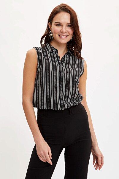 Kadın Siyah Desenli Kolsuz Gömlek K4668AZ.20SM.BK27