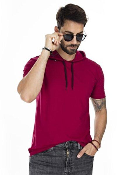 Erkek Bordo Kapüşonlu Pamuklu Slim Fit Basic T Shirt 5412021
