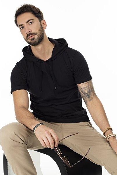 Buratti Erkek Siyah Kapüşonlu Pamuklu Slim Fit Basic T Shirt 5412021