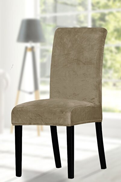 ihsantrade Sandalye Kılıfı. 6 Lı. Kaliteli Kadife Kumaş. Kenarları Lastikli En Boy Likralı Kılıf. Kahverengi