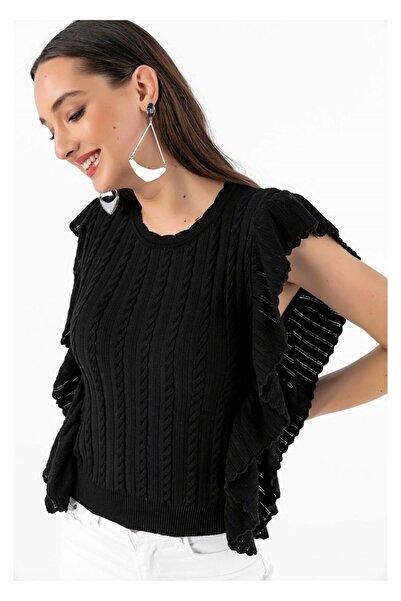 Tiffany A0177 Saç Örgülü Fırfırlı Bluz