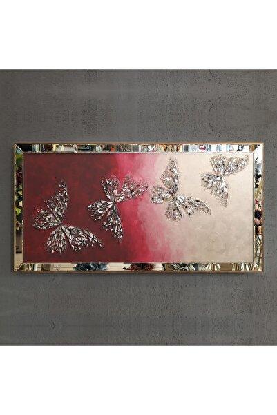 Atlantis Tablo Kelebek Bordo Dörtlü Mozaik Ayna 80 x 155 cm