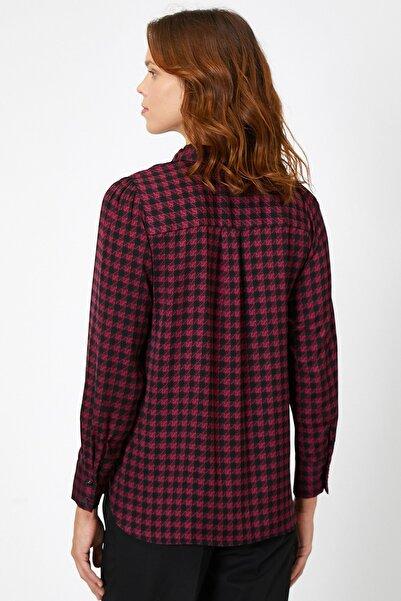 Kadın Bordo Desenli Gömlek 0KAK68180PW