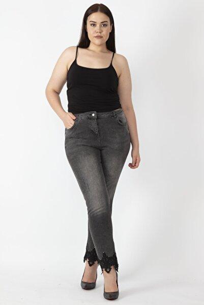 Kadın Antrasit Dantel Detaylı Yıkama Efektli Kot Skınny Pantolon 65N16719