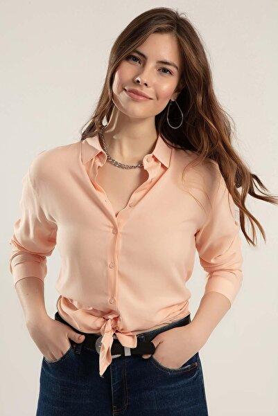 Y-London Kadın Somon Katlanır Kol Gömlek Y20S110-3855