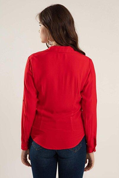 Kadın Kırmızı Katlanır Kol Gömlek Y20S110-3855