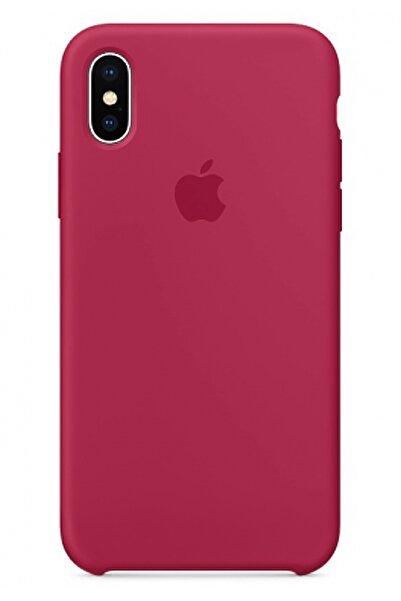 Ebotek Apple Iphone X Silikon Kılıf Pudra Vişne
