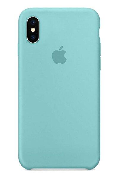 Ebotek Apple Iphone X Silikon Kılıf Pudra Turkuaz