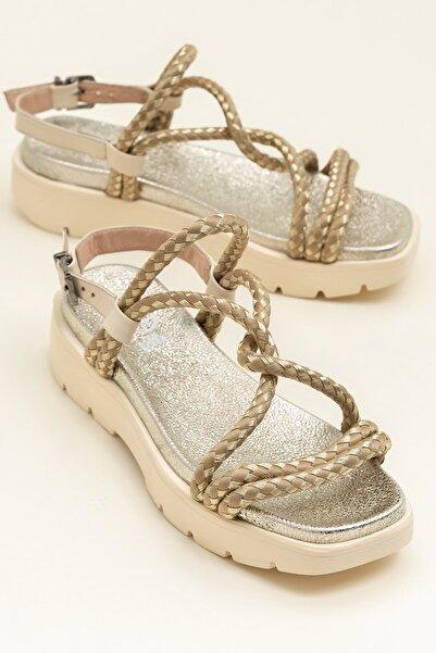 Elle Shoes AWENA Naturel Kadın Sandalet