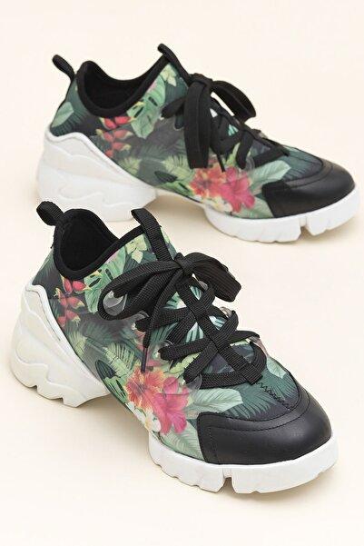 Elle Shoes NADEA Siyah Çiçekli Kadın  20YSDMO133-2
