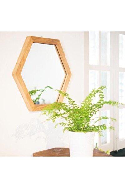 Emek Altıgen Model 35x30 Dekoratif Ayna Masif Ahşap