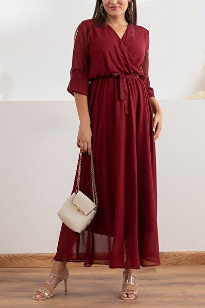 Elbise Delisi Kadın Bordo Uzun Kruvaze Yaka Şifon Elbise