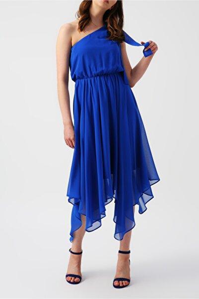 RANDOM Kadın Eteği Asimetrik Tek Omuzlu Mavi Elbise