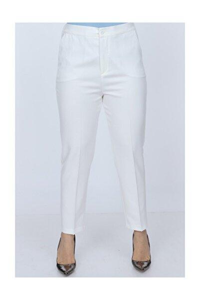 RMG Kadın Beyaz Beli Lastikli Kumaş Pantolon 1371
