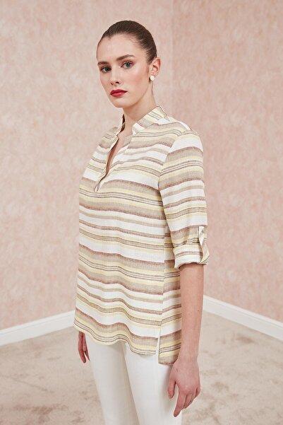 Journey Kadın Ekru Renkli Çizgili Bluz