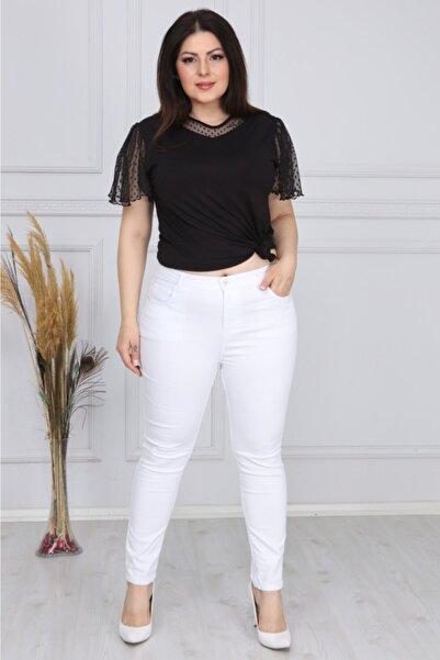 Larissa Beyaz Ful Likralı Yüksek Bel Dar Paça Pantolon