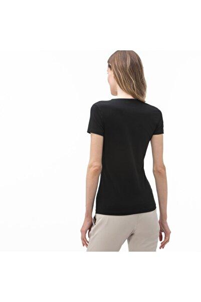 Kadın V Yaka Siyah T-Shirt TF0999