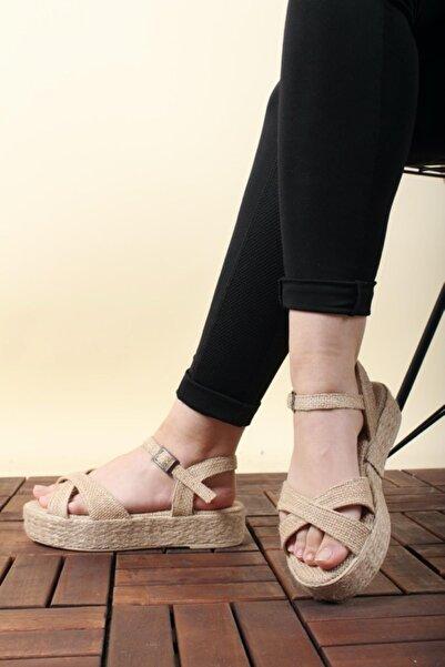 Oksit Florin 564 Hasır Kalın Taban Kadın Sandalet