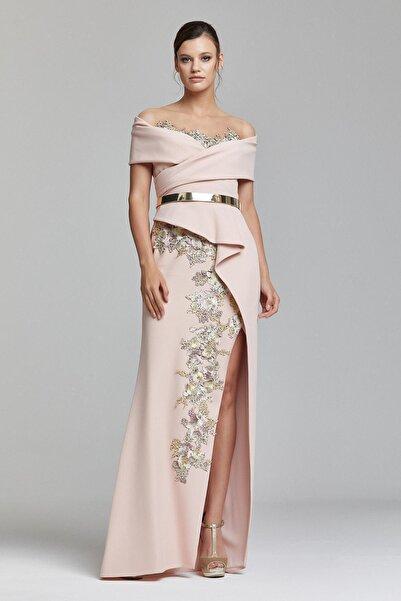 RENGIN Göğsü Eteği Aplikeli Yırtmaçlı Elbise