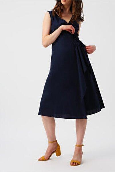 Kadın Lacivert Beli Bağlamalı Kruvaze Kolsuz Midi Elbise