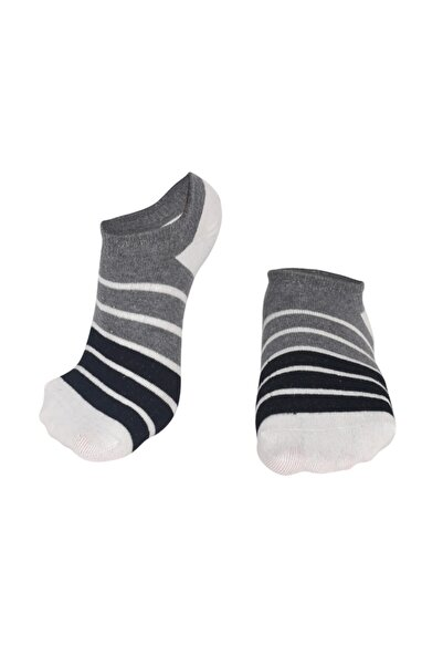 Özgür Çoraplar Mavi Krem Çizgili Topuk Krem Erkek Patik Çorap