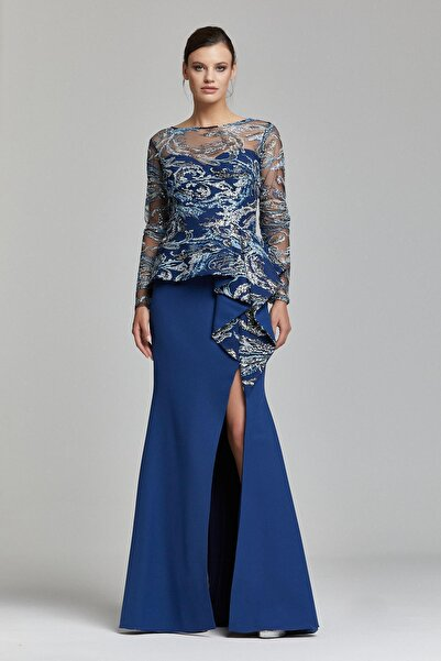 RENGIN Belinden Volanlı Bacak Dekolteli Elbise