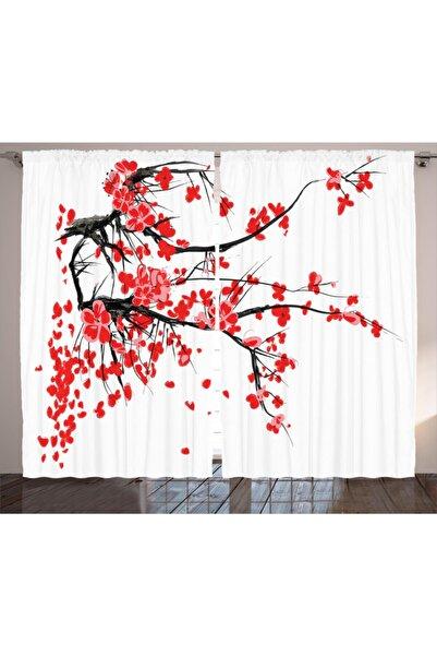 Orange Venue Etnik Perde Kırmızı Kiraz Çiçekleri Desenli