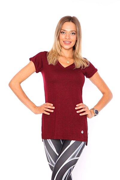 V Yaka Yırtmaçlı Tunik Kadın Tshirt Bordo