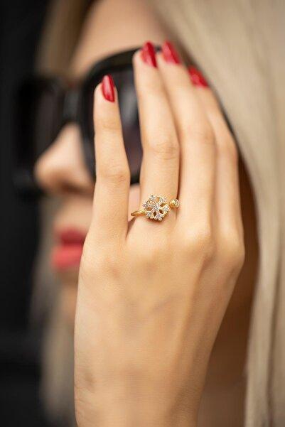 İzla Design Kadın Kar Tanesi Model Zirkon Taşlı Altın Kaplama Gümüş Yüzük İZLASLVR00242