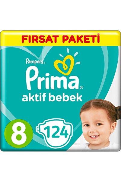 Prima Unisex Bebek Bezi Aktif Bebek 8 Beden 17+ Kg 4*31 124 Adet