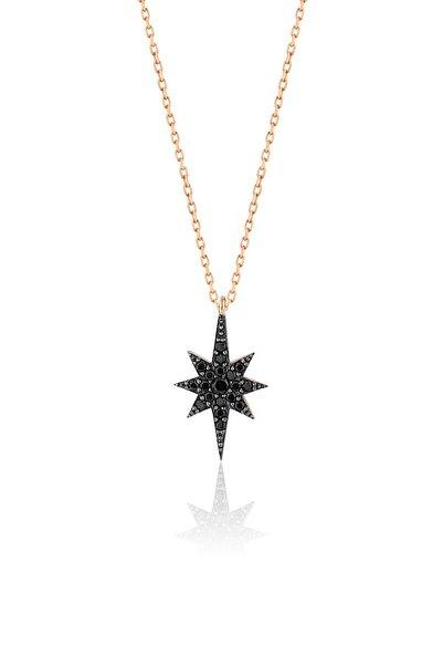 Papatya Silver 925 Ayar Rose Altın Kaplama Siyah Taşlı Gümüş Kutup Yıldızı Kolye