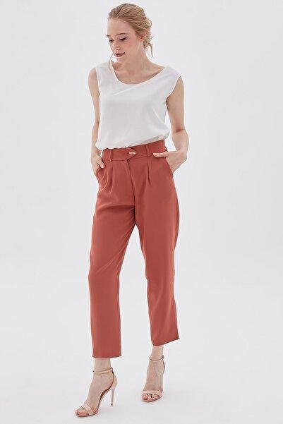 Kayra Kadın Beli Lastikli Düğme Detaylı Gül Kurusu Pantolon B20 19192