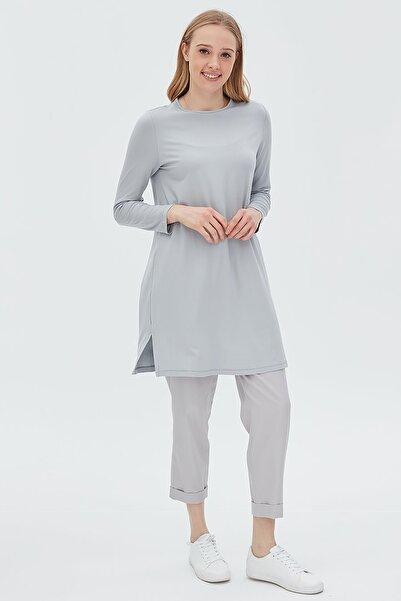 Kayra Kadın Basic Uzun Penye Gri Bluz Sz 10506