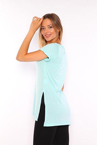 V Yaka Yırtmaçlı Tunik Kadın Tshirt Yeşil