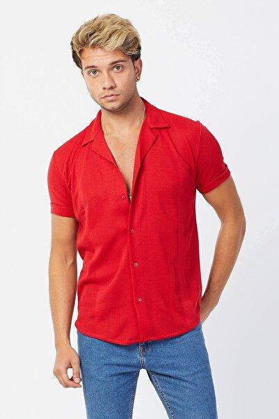 Karpefingo Erkek Kara Çizgi Apos Yaka Kısa Kol Kırmızı Gömlek