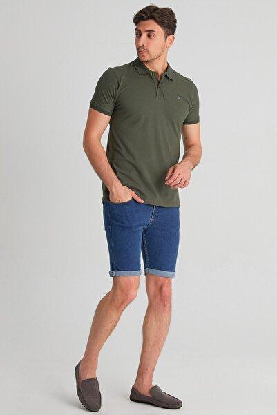 Fulla Moda Erkek Duble Paça Kot Lacivert Şort