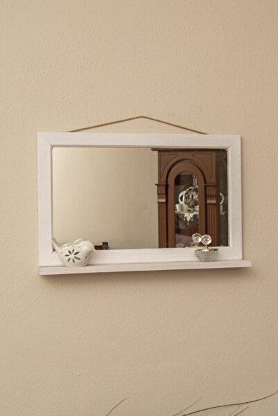 İpli Çerçeve Ahşap Dekoratif Raflı Beyaz Ayna Yatay