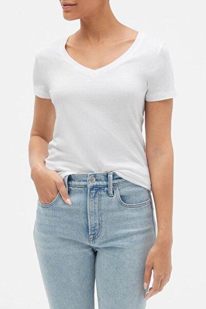 GAP Kadın Beyaz Favorite V Yaka T-Shirt