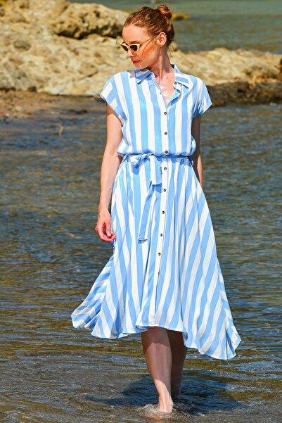 Trend Alaçatı Stili Kadın Mavi-Beyaz Kısa Kol Dokuma Gömlek Elbise Dnz-3202