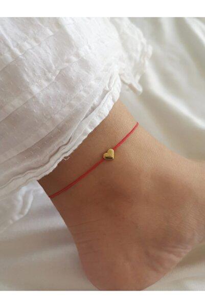 Kalbimdedi Takı Kırmızı Ipli Kalpli Halhal